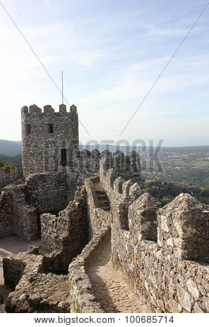 Ancient Moorish Castle In Sintra surrounding walls