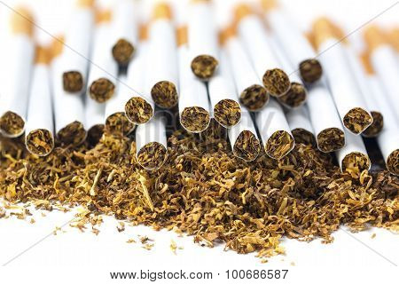 Many Filter Cigarettes On A Heap Of Loose Tobacco, Closeup On White Background