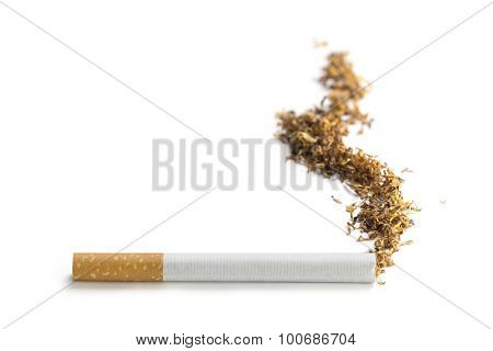 Cigarette With Smoke Made Of Tobacco, Isolated On White