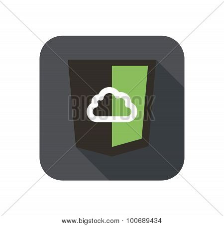 vector icon web shield with cloud for node js framework - isolated flat design illustration long sha