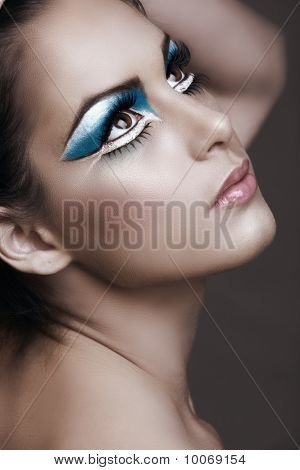 Woman With Bright Blue