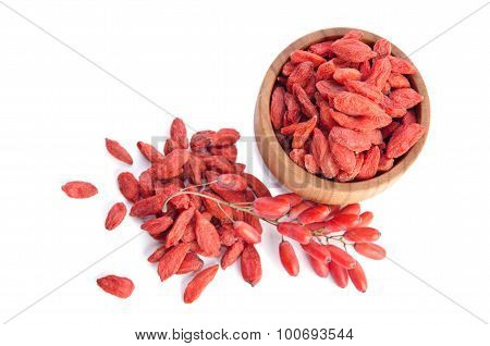 Barberries And Goji Berries Isolated On White Background