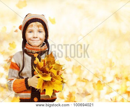 Kid Autumn Fashion Season, Child In Hat Jacket Clothing, Boy With Fall Leaves