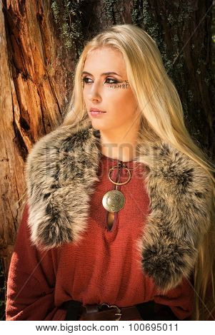 Scandinavian Girl With Runic Signs