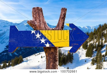 Bosnia and Herzegovina wooden with winter background poster
