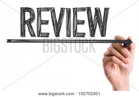 Hand with marker writing the word Review poster