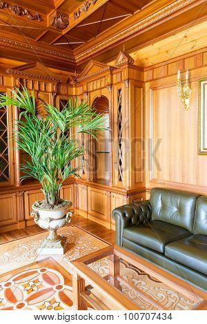 Novi Petrivtsi, Ukraine - May 27, 2015 Mezhigirya residence of ex-president of Ukraine Yanukovich. Luxurious cabinet of