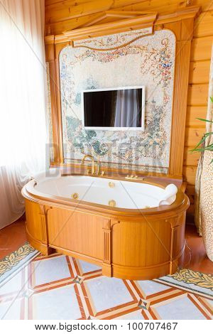 Novi Petrivtsi, Ukraine - May 27, 2015 Mezhigirya residence of ex-president of Ukraine Yanukovich. Luxurious bathroom with modern interior