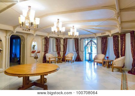Novi Petrivtsi, Ukraine - May 27, 2015 Mezhigirya residence of ex-president of Ukraine Yanukovich. Close up of living room with modern furniture