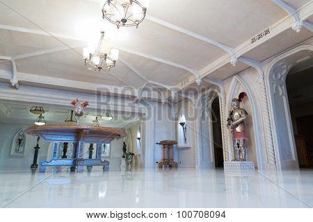 Novi Petrivtsi, Ukraine - May 27, 2015 Mezhigirya residence of ex-president of Ukraine Yanukovich. Modern living room with luxurious furniture