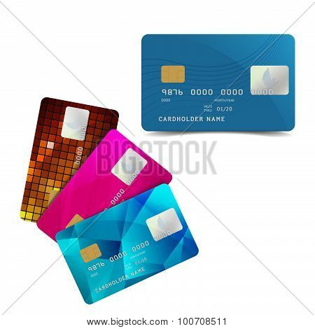 Set of Colorful Credit Cards Isolated on White