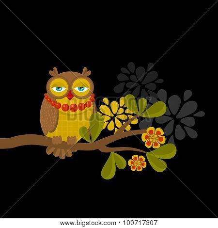 Fashionable owl on the branch. Spring concept illustration.