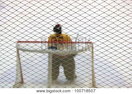 Alone ice hockey goalkeeper near gates on the ice poster