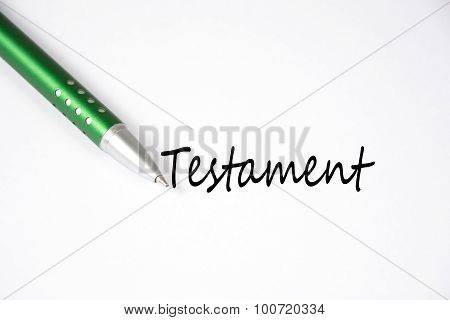 the german word testament written on white paper