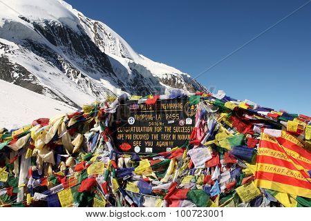 Tibetan Flags At Thorong La Mountain Pass