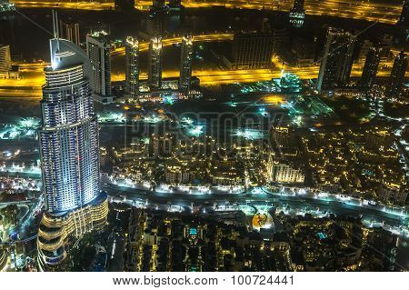 Address Hotel At Night In The Downtown Dubai Area Overlooks The Famous Dancing Fountains