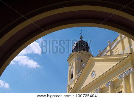 Debrecen's main square and main church