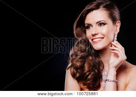 beautiful happy model with luxury accessories.