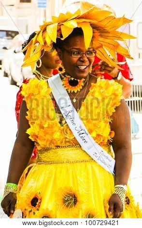 Paris, France- July 17, 2015: the participant of Tropical carnival in Paris, France.