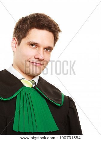 Law court and justice. Portrait of young man lawyer attorney in polish (Poland) black green gown isolated on white. Occupation. poster