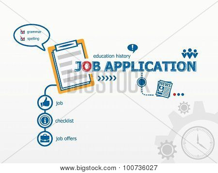 Job Application Concept And Notebook For Efficiency, Creativity, Intelligence.