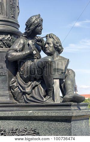 Detail of Ernst Rietschel Statue in Dresden - Germany