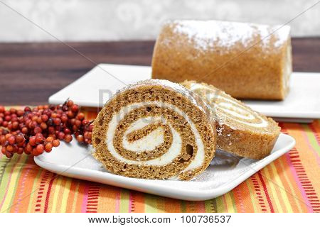 Pumpkin Roll Cake, Selective Focus And Copy Space.