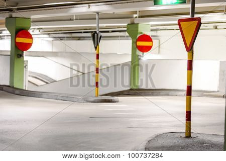 Traffic Signs In Car Park