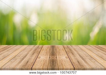 Wooden Board Empty Table In Front Of Blurred Trees In Forest Background.