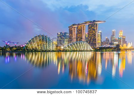 Singapore Cityscapes At Twilight