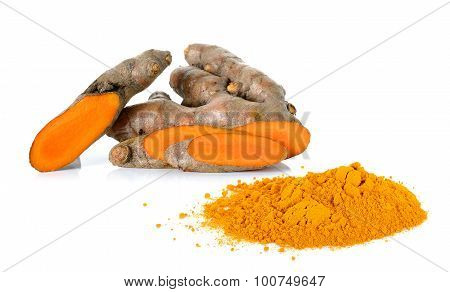Turmeric With Powder Turmeric Isolated On The White Background
