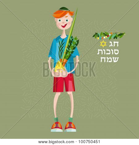 Boy Holding Ritual Plants For Sukkot. Jewish Holiday Tradition.