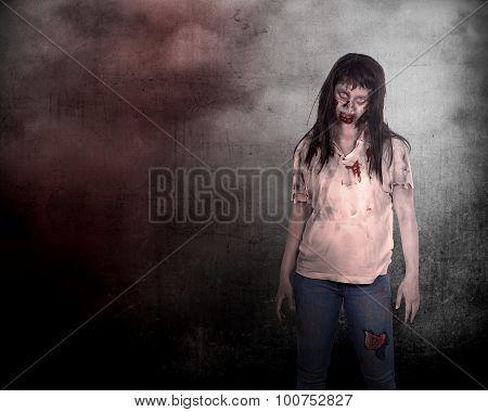 Creepy Asian Female Zombie