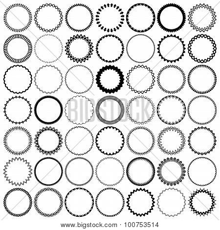 49 Vintage Round Borders. Set With Circle Frames.
