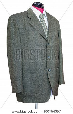 Green Tweed Jacket With Shirt And Tie Isolated
