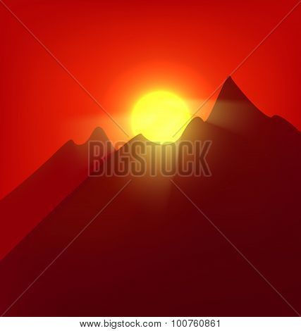 Sunset  at the mountains