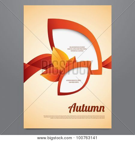 Vector autumn brochure, flyer, poster, magazine cover template. Modern orange and red  leaves design.