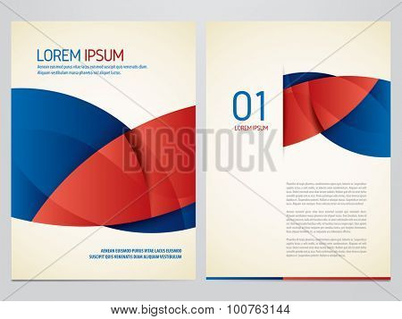 Vector blue and red brochure, annual report, flyer, magazine template. Modern corporate design.