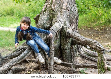 Little Girl Playing On The Roots Of A Tree