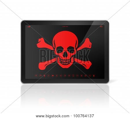 Tablet Pc With A Pirate Symbol On Screen. Hacking Concept