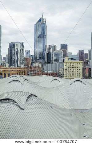 View Of Southern Cross Station In Docklands, Melbourne And Skyscrapers