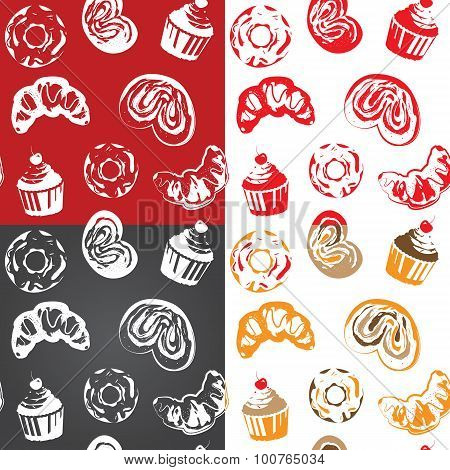 Seamless pattern with various pastries. One color vector design. Can be used in Screen printing, flexography or as web page background, wrapping, textile and scrapbook. poster
