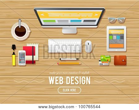 Flat Design Illustration Concept For Webdesign