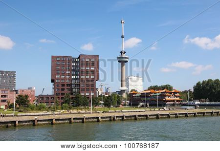 Euromast Tower By The Nieuwe Maas In Rotterdam, The Netherlands