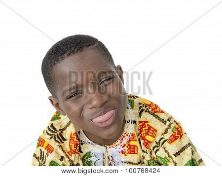 Afro boy sticking his tongue out, ten years old, isolated