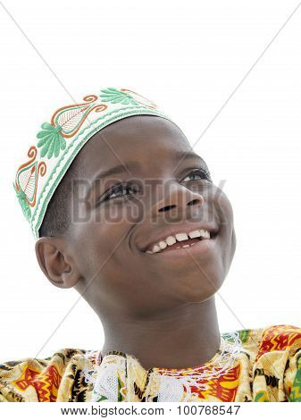 Afro boy smiling, ten years old, isolated