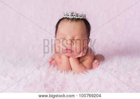 Newborn Baby Girl Wearing A Dainty Rhinestone Crown