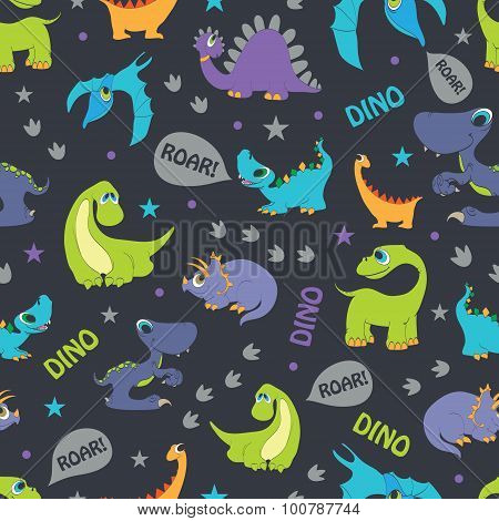 Vector Dinosaurs Roaring Seamless Pattern. Cutest Pterodactyl, Funny Triceratops, Stegosaurus