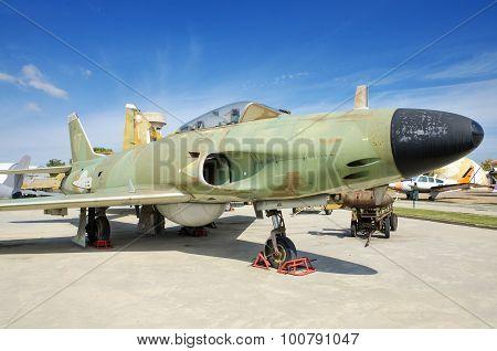 Swedish SAAB fighter jet on September 5 2015 in Madrid Spain.