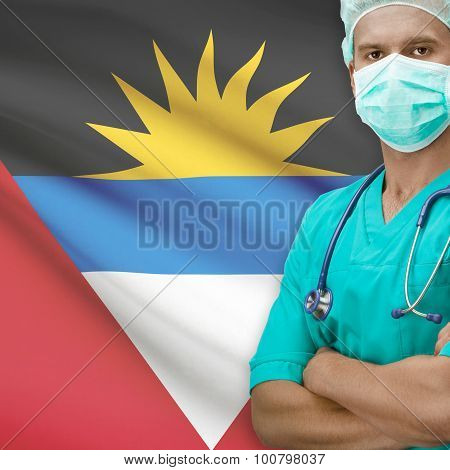 Surgeon With Flag On Background Series - Antigua And Barbuda